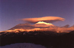 Ribbons of Light across Mt. Shasta